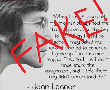 John Lennon Quote When I Was 5 Years FAKE HOAX The Damien Zone
